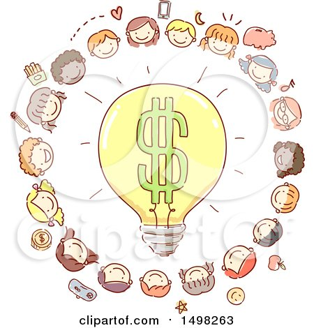 Clipart of a Sketched Dollar Light Bulb Surrounded by Children and Money Icons - Royalty Free Vector Illustration by BNP Design Studio