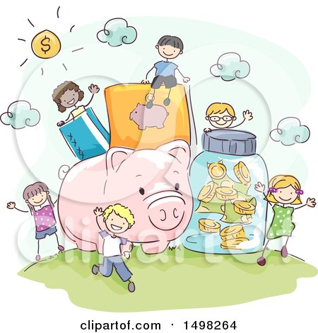 Clipart of a Sketched Giant Piggy Bank and Money Items with Kids - Royalty Free Vector Illustration by BNP Design Studio