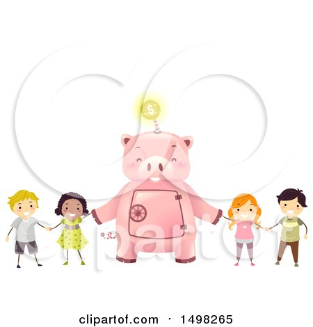 Clipart of a Giant Piggy Bank Holding Hands with Kids - Royalty Free Vector Illustration by BNP Design Studio
