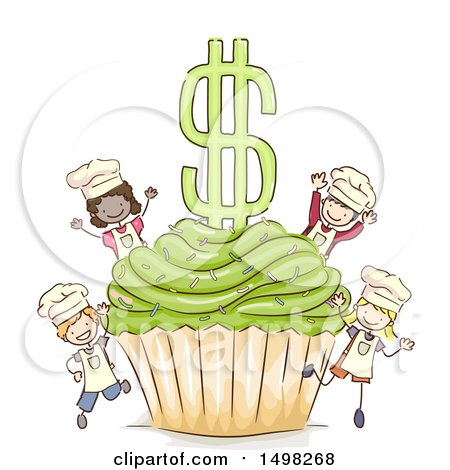 Clipart of a Sketched Giant Cupcake and Dollar Symbol with Chef Kids - Royalty Free Vector Illustration by BNP Design Studio