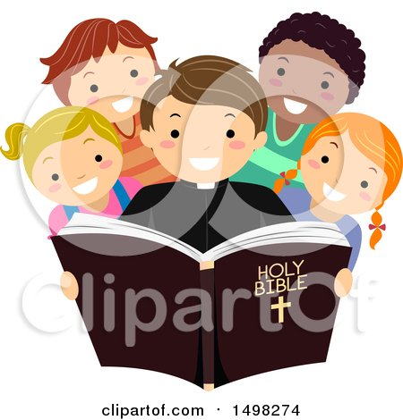 Clipart of a Priest and Group of Children Reading the Bible - Royalty Free Vector Illustration by BNP Design Studio