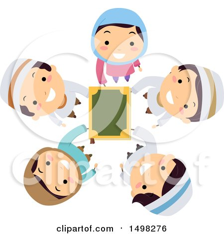 Clipart of a Circle of Muslim Children Holding up the Quran - Royalty Free Vector Illustration by BNP Design Studio