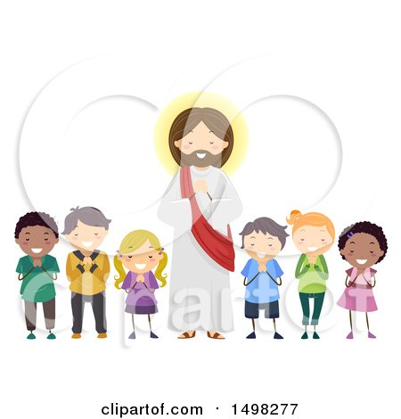 Clipart of a Group of Children Praying with Jesus Christ - Royalty Free Vector Illustration by BNP Design Studio