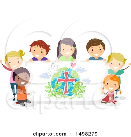 Clipart of a Group of Children with a Peace Banner - Royalty Free Vector Illustration by BNP Design Studio