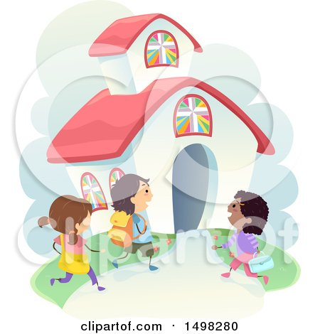 Clipart of a Group of Children Going to a Christian School - Royalty Free Vector Illustration by BNP Design Studio
