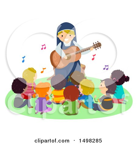 Clipart of a Happy Nun Playing a Guitar for a Group of Children - Royalty Free Vector Illustration by BNP Design Studio