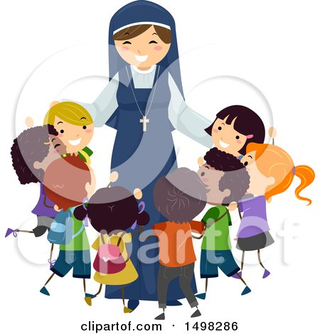 Clipart of a Happy Nun Hugging a Group of Children - Royalty Free Vector Illustration by BNP Design Studio
