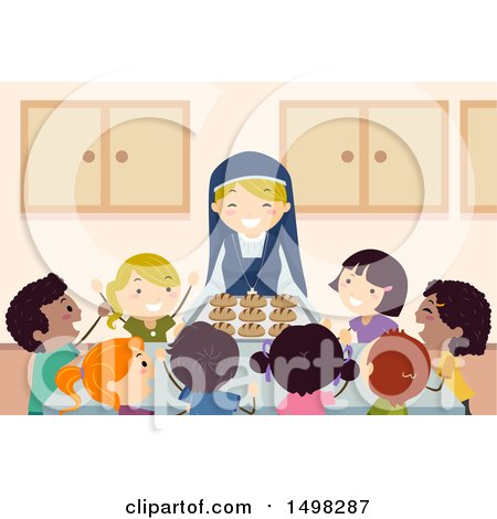 Clipart of a Happy Nun Serving Bread to a Group of Children - Royalty Free Vector Illustration by BNP Design Studio