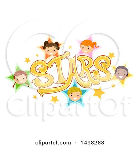 Clipart of a Stars Text Design with Child Faces - Royalty Free Vector Illustration by BNP Design Studio