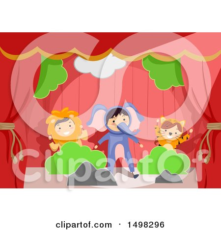 Clipart of a Group of Children in Animal Costumes on Stage - Royalty Free Vector Illustration by BNP Design Studio