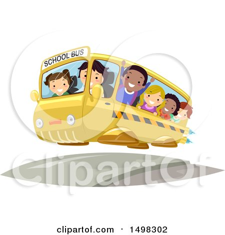 Clipart of a Flying Futuristic School Bus Full of Kids - Royalty Free Vector Illustration by BNP Design Studio