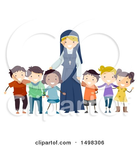 Clipart of a Happy Nun with a Group of Children - Royalty Free Vector Illustration by BNP Design Studio