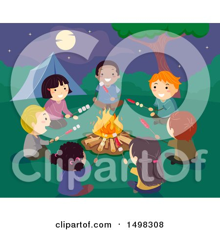 Clipart of a Group of Children Rosting Hot Dogs and Marshmallows Around a Camp Fire - Royalty Free Vector Illustration by BNP Design Studio