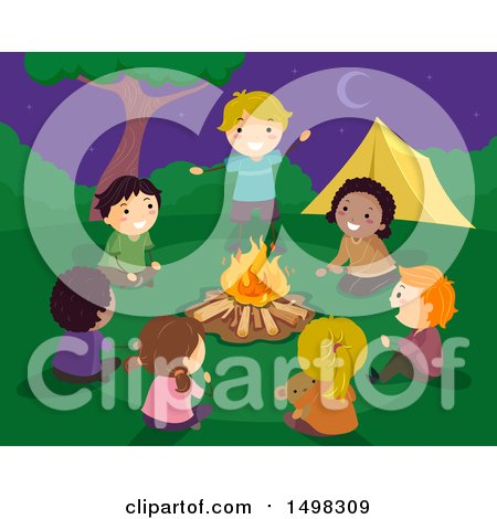 Clipart of a Group of Children Sharing Stories Around a Camp Fire - Royalty Free Vector Illustration by BNP Design Studio