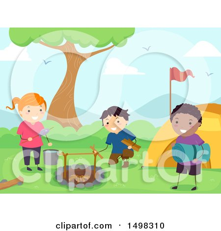 Clipart of a Group of Children Setting up a Camp Site - Royalty Free Vector Illustration by BNP Design Studio