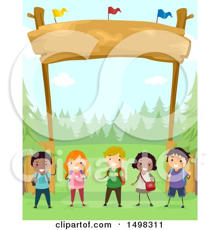 Clipart of a Group of Children Under a Camp Site Entrance - Royalty Free Vector Illustration by BNP Design Studio