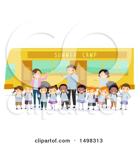 Clipart of a Group of Adults and Children by a Summer Camp Bus - Royalty Free Vector Illustration by BNP Design Studio