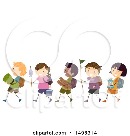 Clipart of a Line of Children with Camping Gear - Royalty Free Vector Illustration by BNP Design Studio