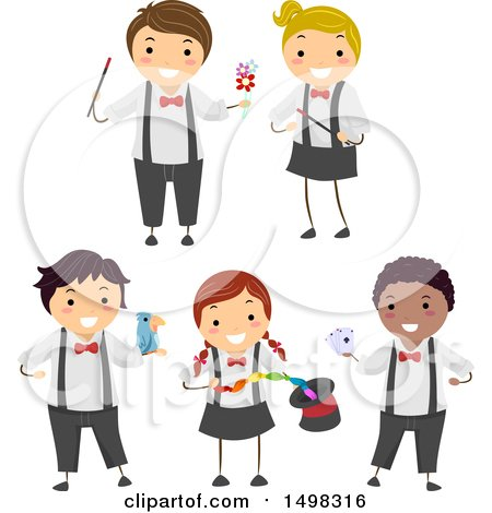 Clipart of Boys and Girls Performing Magic Tricks - Royalty Free Vector Illustration by BNP Design Studio