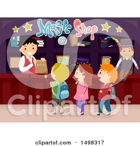 Clipart of a Group of Children in a Magic Shop - Royalty Free Vector Illustration by BNP Design Studio