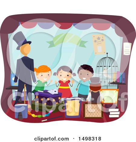 Clipart of a Group of Children Looking Through a Magic Shop Window - Royalty Free Vector Illustration by BNP Design Studio