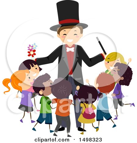 Clipart of a Happy Magician Surrounded by Children - Royalty Free Vector Illustration by BNP Design Studio