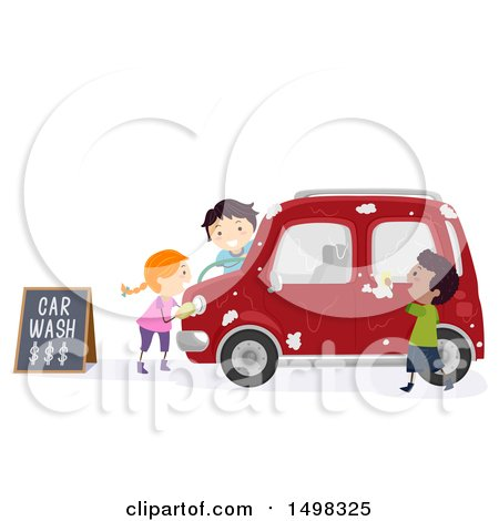 Clipart of a Group of Kids Washing a Car - Royalty Free Vector Illustration by BNP Design Studio