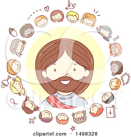 Clipart of a Sketched Circle of Children Around Jesus Christ - Royalty Free Vector Illustration by BNP Design Studio