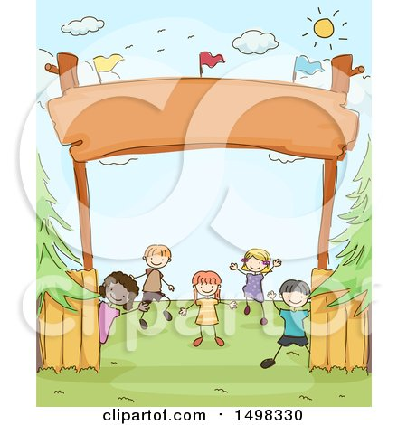 Clipart of a Sketched Group of Children Under a Camp Entrance - Royalty Free Vector Illustration by BNP Design Studio