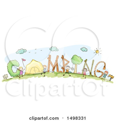 Clipart of a Sketched Group of Children and Camping Text - Royalty Free Vector Illustration by BNP Design Studio
