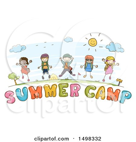 Clipart of a Sketched Group of Children over Summer Camp Text - Royalty Free Vector Illustration by BNP Design Studio