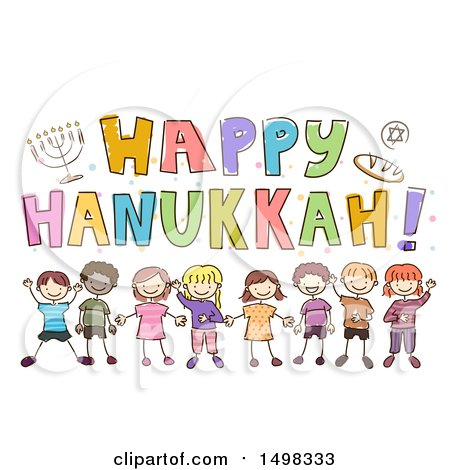 Clipart of a Sketched Group of Children Under a Happy Hanukkah Greeting - Royalty Free Vector Illustration by BNP Design Studio
