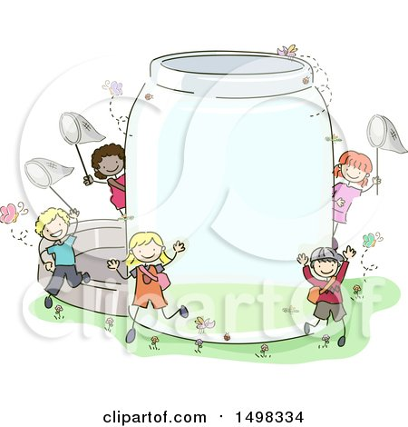 Clipart of a Sketched Group of Children with a Giant Bug Jar - Royalty Free Vector Illustration by BNP Design Studio