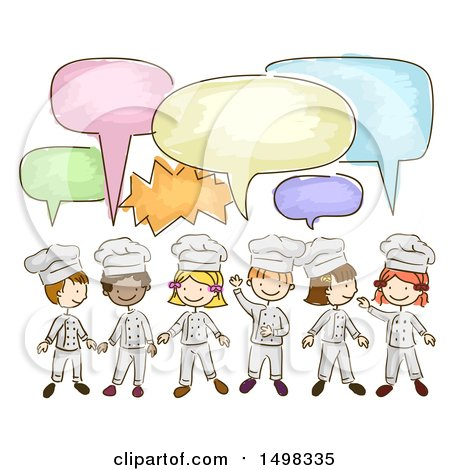 Clipart of a Sketched Group of Chef Children Talking - Royalty Free Vector Illustration by BNP Design Studio