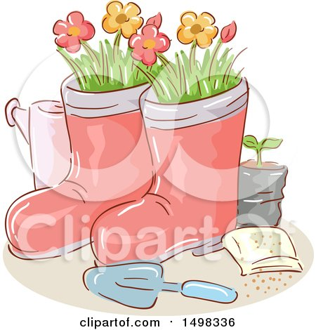 Clipart of a Sketched Trowel with Garden Boot Planters - Royalty Free Vector Illustration by BNP Design Studio