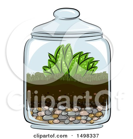 Clipart of a Glass Terrarium with Plants - Royalty Free Vector Illustration by BNP Design Studio
