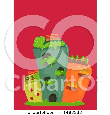 Clipart of Buildings with Roof Top Gardens - Royalty Free Vector Illustration by BNP Design Studio