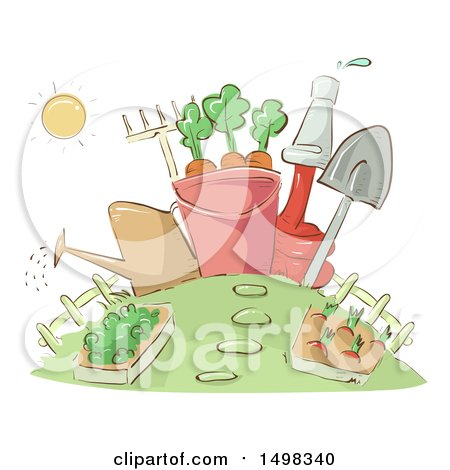 Clipart of a Sketched Garden with Tools - Royalty Free Vector Illustration by BNP Design Studio