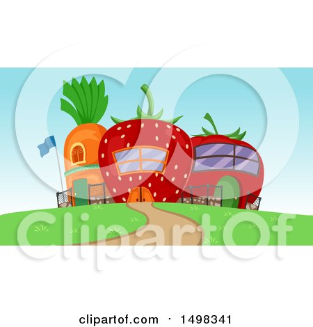 Clipart of a Garden School Building Made of a Carrot Strawberry and Tomato - Royalty Free Vector Illustration by BNP Design Studio