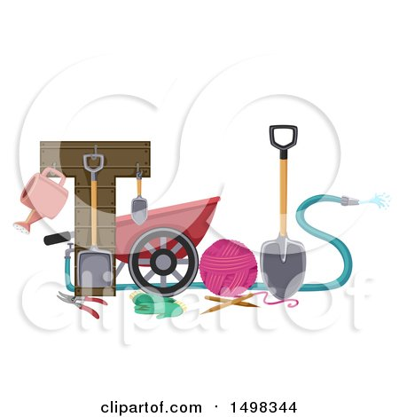 Clipart of Gardening Tools Forming the Word - Royalty Free Vector Illustration by BNP Design Studio