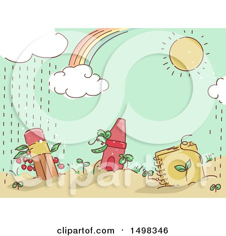 Clipart of a Sketched Garden with a Pencil Crayon and Notebook - Royalty Free Vector Illustration by BNP Design Studio