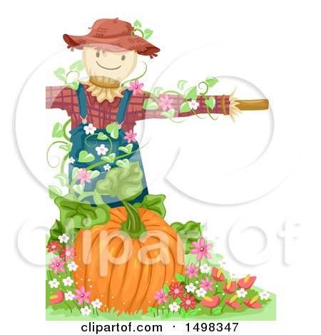 Clipart of a Scarecrow over a Pumpkin - Royalty Free Vector Illustration by BNP Design Studio