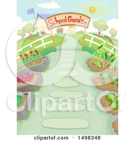 Clipart of a School Garden - Royalty Free Vector Illustration by BNP Design Studio
