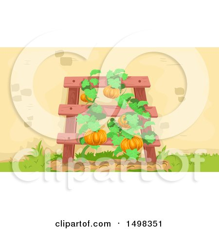 Clipart of a Trellis with Squash Vines - Royalty Free Vector Illustration by BNP Design Studio