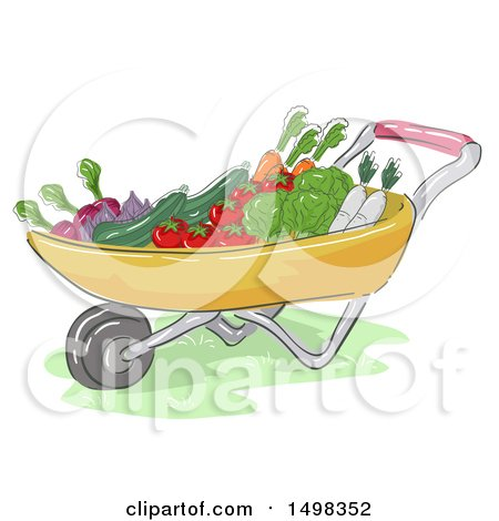 Clipart of a Sketched Wheelbarrow Full of Produce - Royalty Free Vector Illustration by BNP Design Studio