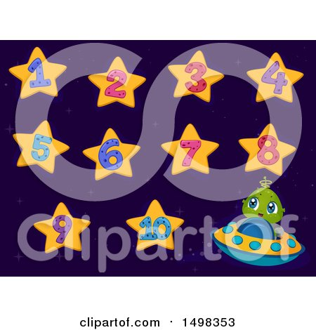 Clipart of a Cute Alien Flying a Ufo and Star Numbers - Royalty Free Vector Illustration by BNP Design Studio