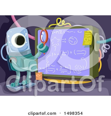Clipart of a Smart Alien Studying a Formula on a Board - Royalty Free Vector Illustration by BNP Design Studio