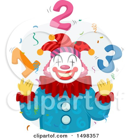 Clipart of a Clown Juggling Numbers - Royalty Free Vector Illustration by BNP Design Studio