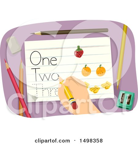 Clipart of a Hand Tracing Words on Paper - Royalty Free Vector Illustration by BNP Design Studio