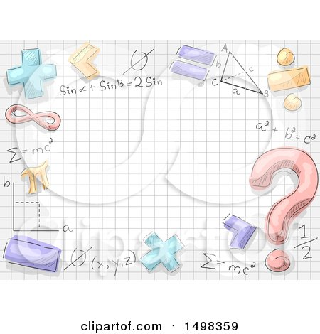 Clipart of a Border of Math Symbols and Formulas over Graph Paper - Royalty Free Vector Illustration by BNP Design Studio